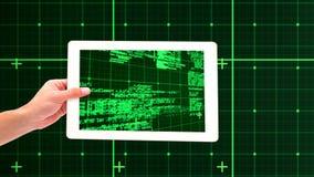 Haga tabletas mostrar la codificación verde almacen de video