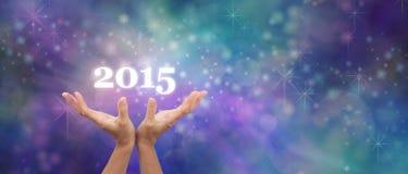 Haga un deseo para la bandera 2015 de la celebración Foto de archivo