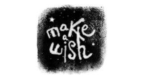 Haga un deseo que pone letras dentro de una ventana congelada con nieve con Alpha Channel libre illustration