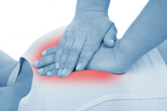 Haga un masaje de corazón, mostrado rojo Imagen de archivo