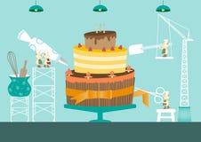 Haga una torta, diseño para el concepto dulce, ejemplo libre illustration