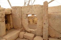 Hagar Qim和Mnajdra寺庙门和Windows  库存图片