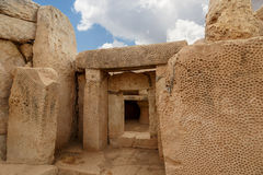 Hagar Qim和Mnajdra寺庙门和Windows  免版税库存图片