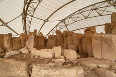 Hagar Qim和Mnajdra寺庙 免版税库存图片