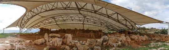 Hagar Qim和Mnajdra寺庙 库存照片