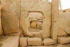 Hagar Qim寺庙复合体在马耳他海岛上发现了  免版税库存照片