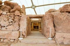 Hagar Qim寺庙复合体在马耳他海岛上发现了  库存图片