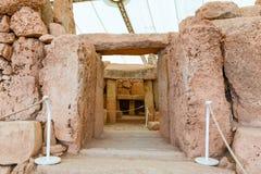 Hagar Qim寺庙复合体在马耳他海岛上发现了  库存照片