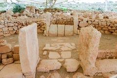 Hagar Qim寺庙复合体在马耳他海岛上发现了  免版税库存图片