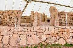 Hagar Qim寺庙复合体在马耳他海岛上发现了  免版税图库摄影