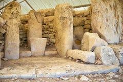 Hagar Qim,马耳他寺庙的竖石纪念碑  库存图片