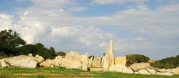 Hagar Qim -巨石寺庙复合体在马耳他海岛  库存照片