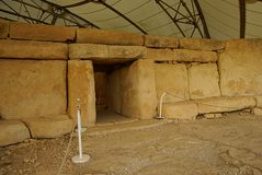 Hagar Qim - megalithic ναός σύνθετος στο νησί της Μάλτας Στοκ Φωτογραφία