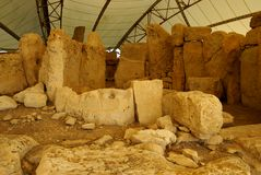 Hagar Qim - megalithic комплекс виска в острове Мальты Стоковое фото RF