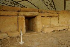 Hagar Qim - megalithic комплекс виска в острове Мальты Стоковая Фотография