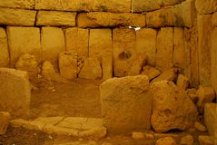 Hagar Qim - megalithic комплекс виска в острове Мальты Стоковые Изображения RF
