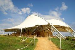 Hagar Qim - megalitiskt tempelkomplex i ön av Malta Arkivbild