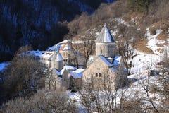 Hagarcin修道院,亚美尼亚,在一个冷的冬天早晨 免版税库存照片