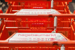 Hagebaumarkt shopping carts Stock Images