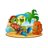 Hagedis met kokosnoot op het strand Stock Afbeelding
