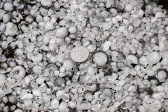 Hagel die met een groter muntstuk, hagelstenen ter plaatse na hagelbui, hagel wordt gerangschikt van grote grootte stock afbeelding
