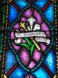 Hagel Mary, Volledig van Gunst, scepter en lelies stock foto
