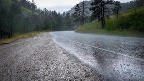 Hagel op bergweg met mist stock foto