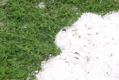 Hagel und grünes Gras Lizenzfreie Stockfotos