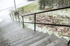 Hagelkorn auf der Treppe Stockbild