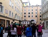Hagenauvierkant in Salzburg Royalty-vrije Stock Foto's
