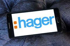 Hager Group logo. Logo of Hager Group on samsung mobile. Hager Group is a leading provider of solutions and services for electrical installations in residential Royalty Free Stock Images