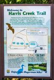 A map representation for the specific trail in Hagerman Wildlife Refuge, Texas. Hagerman Wildlife Refuge, TX, USA - May 6, 2018: A detailed plan chart for Harris royalty free stock images