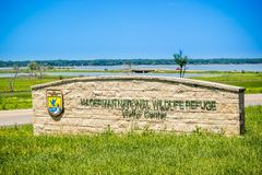 An entrance road going to Hagerman Wildlife Refuge, Texas royalty free stock image