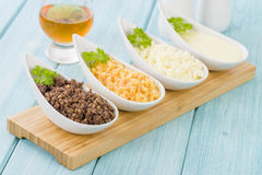 Haggis, Neeps & Tatties. Haggis, Neeps & Tatties - Traditional Scottish meal commonly served at Burns' Night. Served with a dram Royalty Free Stock Photography