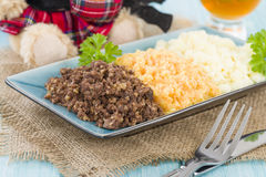 Haggis, Neeps & Tatties. Haggis, Neeps & Tatties - Traditional Scottish meal commonly served at Burns' Night. Served with a dram Stock Images