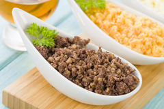 Haggis, Neeps & Tatties. Haggis, Neeps & Tatties - Traditional Scottish meal commonly served at Burns' Night. Served with a dram and whisky sauce Royalty Free Stock Photos
