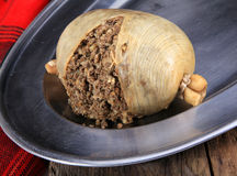 Haggis On A Silver Plater Royalty Free Stock Images