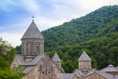 Haghartsin is an Armenian monastery located in wooded valley of the Ijevan mountain range. Haghartsin is an Armenian monastery located in the Tavush region of Royalty Free Stock Photo