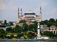 Haghia Sophia from the  Bosphorus, Istanbul. Bosphorus Straits view of the basilica Haghia Sophia, otherwise known as Aya Sofya,  and surrounding neighborhoods Royalty Free Stock Photos