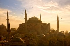 Haghia Sophia in Istanbul. View of Haghia Sophia or Aya Sofya at sunset in Istanbul, Turkey stock images