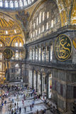Haghia Sophia Museum in Fatih district of Istanbul, Turkey. Istanbul, Turkey - September 11th 2015: Tourists visit Haghia Sophia in Istanbul on September 11th Royalty Free Stock Photography