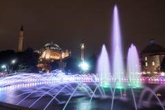 Hagia索非亚在晚上,伊斯坦布尔 免版税图库摄影