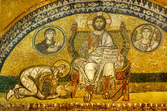 Hagia sofia. Mosaic in the imperial port. stock image
