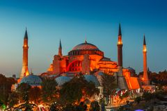 Hagia Sophia με το ηλιοβασίλεμα σε ένα υπόβαθρο Στοκ Εικόνες