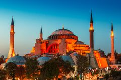 Hagia Sophia με το ηλιοβασίλεμα σε ένα υπόβαθρο Στοκ φωτογραφία με δικαίωμα ελεύθερης χρήσης