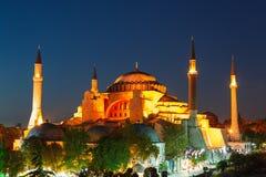 Hagia Sophia με το ηλιοβασίλεμα σε ένα υπόβαθρο Στοκ εικόνα με δικαίωμα ελεύθερης χρήσης