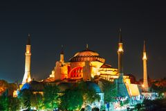 Hagia Sophia με το ηλιοβασίλεμα σε ένα υπόβαθρο Στοκ Φωτογραφία