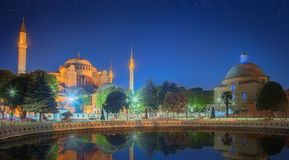 Hagia Sophia νωρίς στη νύχτα στη Ιστανμπούλ Στοκ φωτογραφία με δικαίωμα ελεύθερης χρήσης