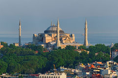 Hagia Sophia. Scenic view of Hagia Sophia with sea in background, Istanbul, Turkey Stock Photos