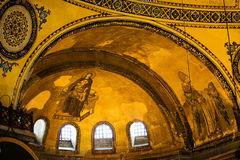 Hagia Sophia Architectural Details. Blessed Virgin Mary with baby Jesus and Guardian Angel Byzantine art on the Hagia Sophia apse in Istanbul, Turkey Stock Photography